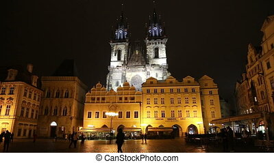 Church of our Lady Tyn, Prague - Night time illuminations of...
