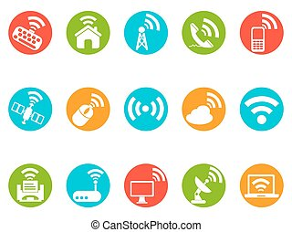 wireless commuincation button icons - isolated wireless...