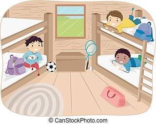 Stickman Boys Cabin - Illustration of Little Boys Sharing a...