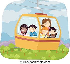 Stickman Forest Cable Car - Illustration of Kids Riding a...