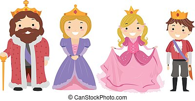 Stickman Kids Royal Family Costume - Illustration of Kids...