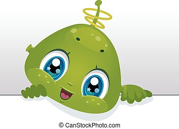 Alien Blank Board - Board Illustration Featuring a Cute Baby...