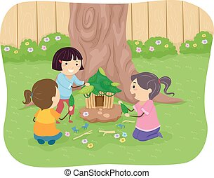 Stickman Kids Fairy House - Illustration of Little Girls...