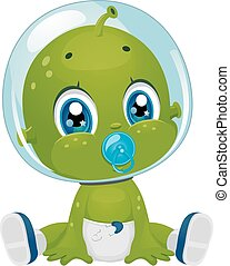 Alien Baby Boy Diaper Pacifier - Illustration Featuring a...