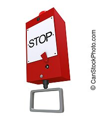 emergency stop - 3d rendered illustration of a red emergency...