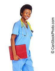 African doctor woman with folder.