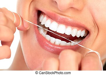 Beautiful woman smile - Beautiful young woman smile Dental...