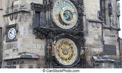 medieval astronomical clock, Prague - Astronomical clock in...