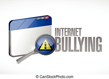 internet bullying sign and browser concept illustration...