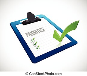 priorities clipboard checklist illustration design over a...