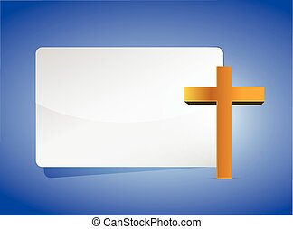 cross religious banner illustration design over a blue...