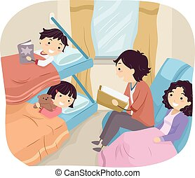 Stickman Family Sleeper Train - Illustration of a Family...