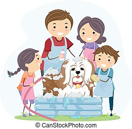 Stickman Family Pet Bath - Illustration of a Family Giving...