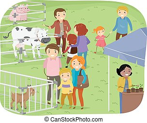 Stickman Family Outdoor Farm Expo - Illustration of a Family...