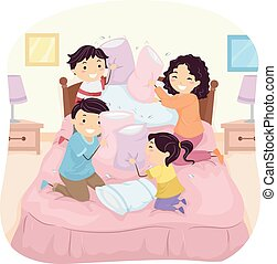 Stickman Family Pillow Fight - Illustration of a Family...
