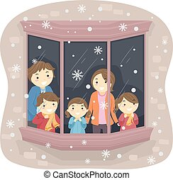 Stickman Family Snow Watching - Illustration of a Family...