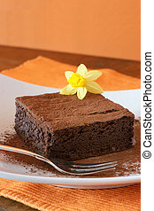 Brownie - Chocolate Fudge Brownie devorated with daffodil on...