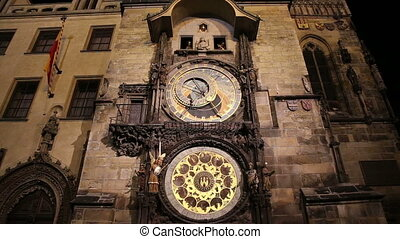 medieval astronomical clock, Prague - Night view of the...