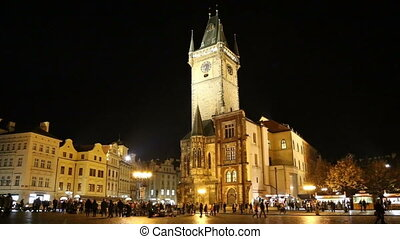 Old Town City Hall in Prague (Night view), view from Old...