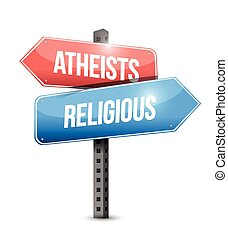atheists and religious street sign illustration design over...