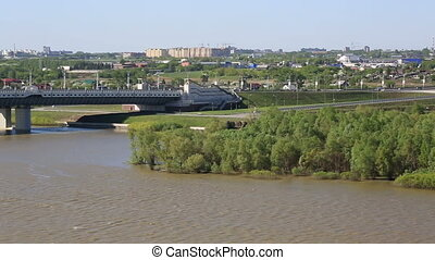 Panorama city of Omsk on the Irtysh River.