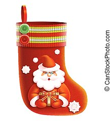Vector realistic red Christmas boot. Santa Claus gives...
