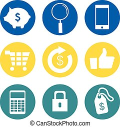 Bank Icons Set - Bank vector and icon set great for any use.
