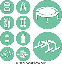 Fitness and Exercise Icons set - Fitness and Exercise vector...