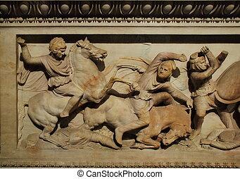 Alexander's Sarcophagus Detail, Istanbul - Turkey