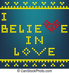 i believe - a mosaic illustration of a heart ,with a border...