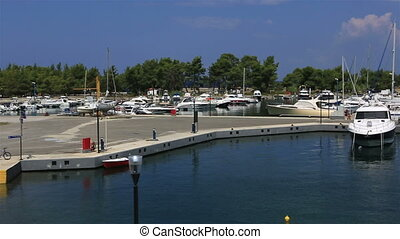 Panorama of boats in the private dock Porto Carras Grand...