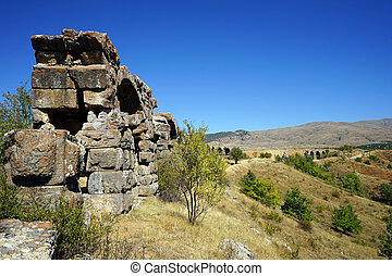 Aqueduct - Ruins of roman aqueduct near Yalvac, Turkey...