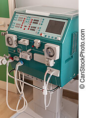 Old Dialyser - a dialyser or hemodialysis machine in an...