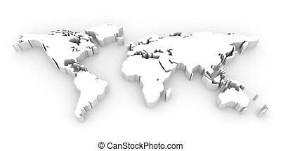 World map - Shape of world map 3D illustration