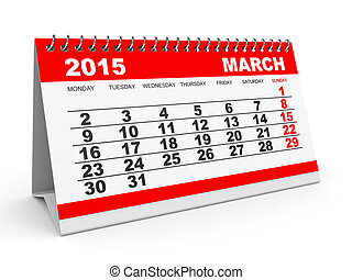 Calendar March 2015. - Calendar March 2015 on white...