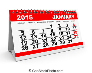 Calendar January 2015 - Calendar January 2015 on white...