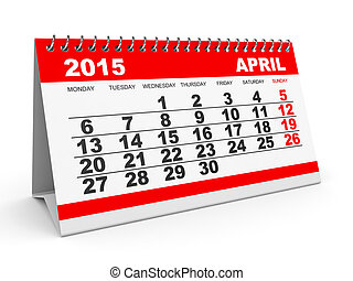 Calendar April 2015 - Calendar April 2015 on white...