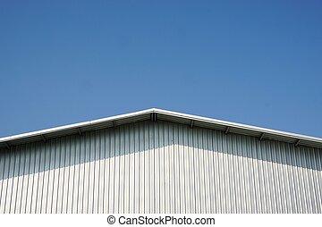 techo, matel, hoja, con, el, azul, cielo,