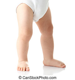 Baby legs isolated on white background