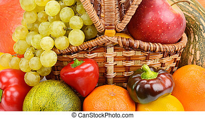 vegetables and fruits in wicker basket
