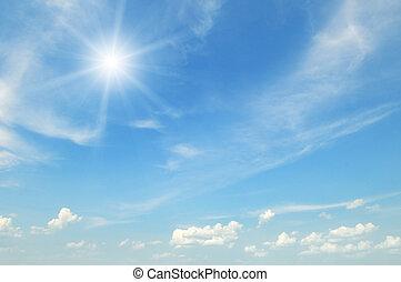 太陽, 上, 藍色, 天空,