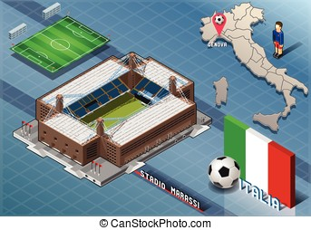 Isometric Stadium, Marassi, Genova, Italy - Detailed...