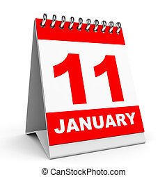Calendar. 11 January. - Calendar on white background. 11...