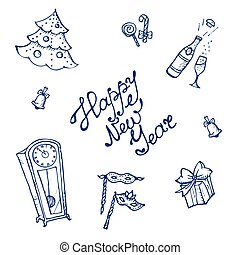 Vector doodle New Year elements set in sketch style