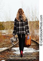 Girl on railroad - Girl walking along old railroad