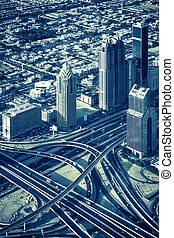 highway intersection and skyscrapers