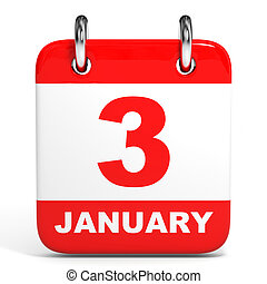 Calendar 3 January - Calendar on white background 3 January...