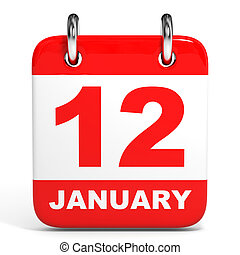 Calendar. 12 January. - Calendar on white background. 12...