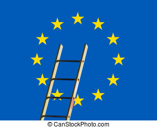 European concept - European flag overlaid with builders step...