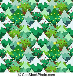 Christmas theme pine tree forest seamless pattern background...